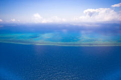 Great Barrier Reef from the sky stock photo