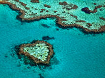 Great Barrier Reef. In the Whitsundays Australia. Aerial landscape showing famous Heart Reef Stock Photo