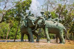 The Great Battle Of Yuthahathi monument in Ancient City Park, Muang Boran, Samut Prakan province, Thailand royalty free stock photo