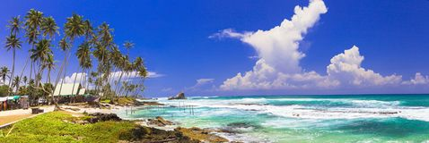 Great beacehs of Sri Lanka. Weligama in south of island stock images