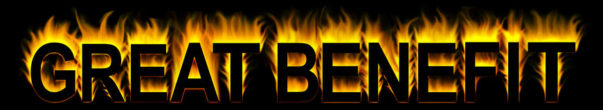 Great benefit. Word in fire background Stock Photo