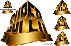 Great Best First Super Word Shape Ribbon Set Black Gold Royalty Free Stock Photos