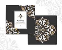 White and gold greeting cards with ornamental flowers. Great black card for invitation, flyer, menu, brochure, postcard, background, wallpaper, decoration, or Royalty Free Stock Photos