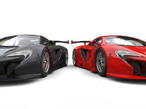 Great black and red supercars side by side Royalty Free Stock Photography
