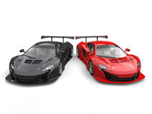 Great black and red supercars side by side Stock Photography