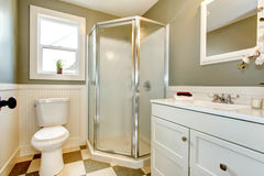 Great blend of white bathroom cabinets with olive walls. Royalty Free Stock Photo