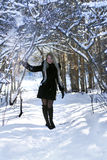 Great blonde in a winter forest Stock Photography