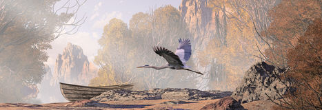 Great Blue Heron In Flight. A landscape scene with lake, a weathered rowboat and a great blue heron in flight stock illustration