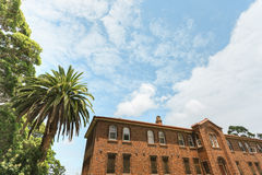Great blue sky and a large old building Royalty Free Stock Image