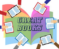 Great Books Indicates Agreeable Like And Wonderful Royalty Free Stock Photos