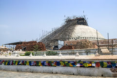 The Great Boudha Stupa under repair and renovation after major earthquake in 2015, Kathmandu, Nepal Stock Image
