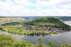 Great bow of the Rhine Valley near Boppard, Germany. Royalty Free Stock Images