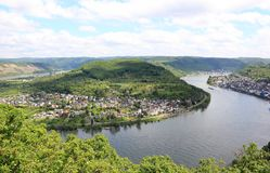 Great bow of the Rhine Valley near Boppard, German Royalty Free Stock Photo
