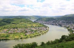 Great bow of the Rhine Valley near Boppard, Germany. Royalty Free Stock Photo