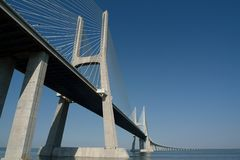 Great bridge. Over the river Royalty Free Stock Image