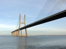 Great bridge perspective. Great perspective of Vasco da Gama bridge in Lisbon Royalty Free Stock Image