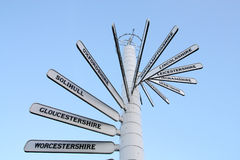 Great Britain. Direction signs showing various destinations near Birmingham, England Stock Image