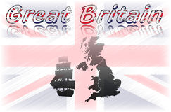 Great Britain. Background with map and old ship stock illustration