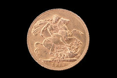 Great Britain ancient gold coin (George V, 1913). Reverse. Great Britain ancient gold coin (St. George slaying the dragon, 1913). Reverse. Path on the white Royalty Free Stock Images