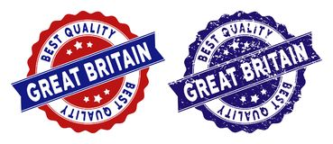 Great Britain Best Quality Stamp with Grunge Style. Great Britain stamps with Best Quality caption, blue grunge and blue and red clean versions. Vector seal stock illustration