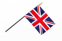 Great Britain British Flag on Pole. Isolated on white background Royalty Free Stock Photo
