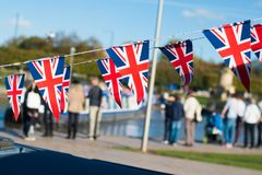 Great Britain celebration bunting with typical UK background in stock images