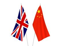 Great Britain and China flags. National fabric flags of Great Britain and China isolated on white background. 3d rendering illustration vector illustration