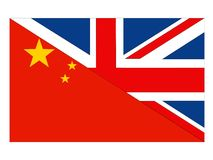 Great Britain and China flags vector illustration