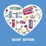 Great Britain Colored Doodles Vector Collection Royalty Free Stock Photography