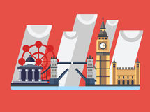Great Britain. England. London panorama. Landscape with landmarks. Tower Bridge, Big Ben Clock, Tower, London Eye, Trafalgar Square Rainy weather Royalty Free Stock Images