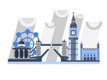 Great Britain. England. London panorama. Landscape with landmarks. Tower Bridge, Big Ben Clock, Tower, London Eye, Trafalgar Square Rainy weather Stock Image