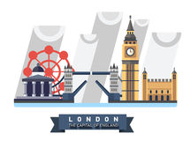 Great Britain. England. London panorama. Landscape with landmarks. Tower Bridge, Big Ben Clock, Tower, London Eye, Trafalgar Square Rainy weather Royalty Free Stock Photo