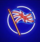 Great Britain english flag in circle neon. Icon. EPS10 vector illustration royalty free illustration
