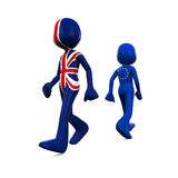 Great Britain and European Union Character. 3D Character Textured With Flag of Great Britain and European Union isolated on white background. 3D render Royalty Free Stock Photos