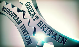 Great Britain European Union - Text on the Mechanism of Metallic Stock Photos