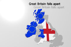 Great Britain falls apart, all left Royalty Free Stock Photo