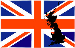 Great britain flag. With map vector illustration