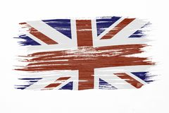 Great Britain flag. Art brush watercolor painting of UK flag blown in the wind isolated on white background Stock Images