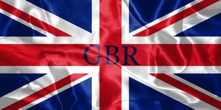 Great Britain Flag Blown in the Wind With Country Name Written O Royalty Free Stock Image
