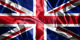 Great Britain Flag Blown in the Wind With Country Name Written O Stock Photos