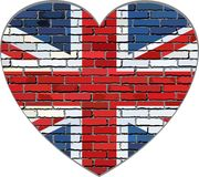 Great Britain flag on a brick wall in heart shape. Illustration, Flag of United Kingdom in brick style, Abstract grunge United Kingdom flag royalty free illustration