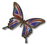 Great Britain flag on butterfly. On white royalty free illustration
