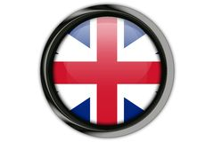Great Britain flag in the button pin Isolated on White Backgroun Stock Image