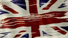 Great Britain flag. Closeup of art brush watercolor painting UK Great Britain Union Jack flag blown in the wind stock video