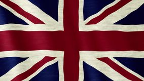 Great Britain flag. Closeup of Great Britain Union Jack flag blown in the wind stock footage