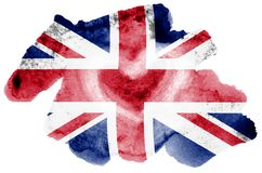 Great britain flag is depicted in liquid watercolor style isolated on white background royalty free illustration
