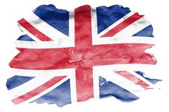 Great britain flag is depicted in liquid watercolor style isolated on white background. Careless paint shading with image of national flag. Independence Day vector illustration
