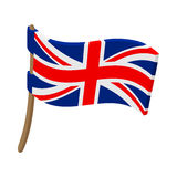 Great Britain flag with flagpole icon Stock Images