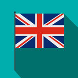 Great Britain flag with flagpole icon, flat style Royalty Free Stock Images