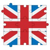 Great Britain flag in form of puzzle stock images